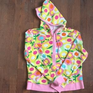 Lilly Pulitzer terry cloth material zip up